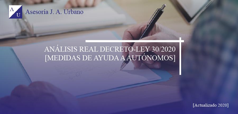 Análisis real decreto ley 30/2020 ayudas autónomos